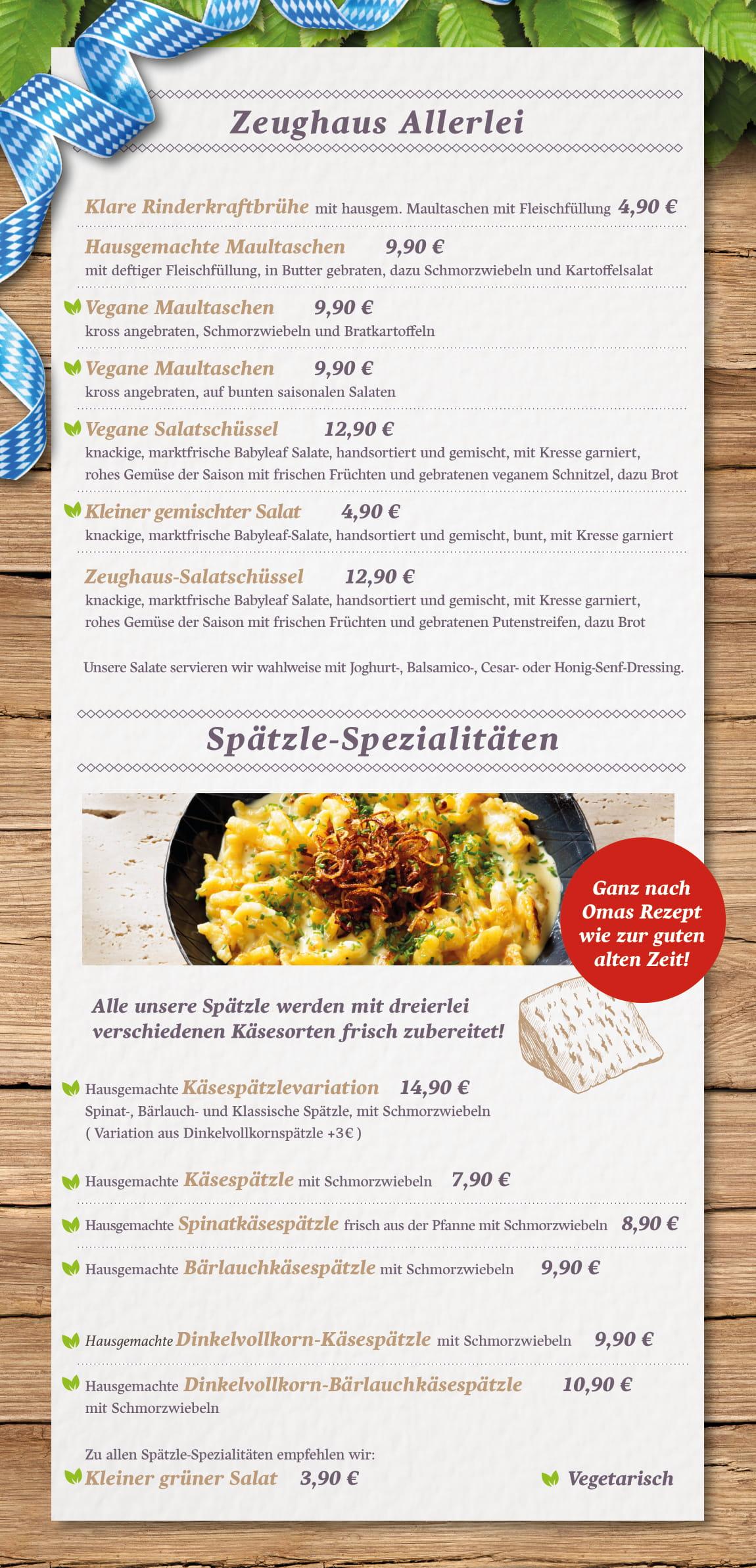 Speisekarte Zeughaus Stuben Gasthaus Restaurant Augsburg Altstadt
